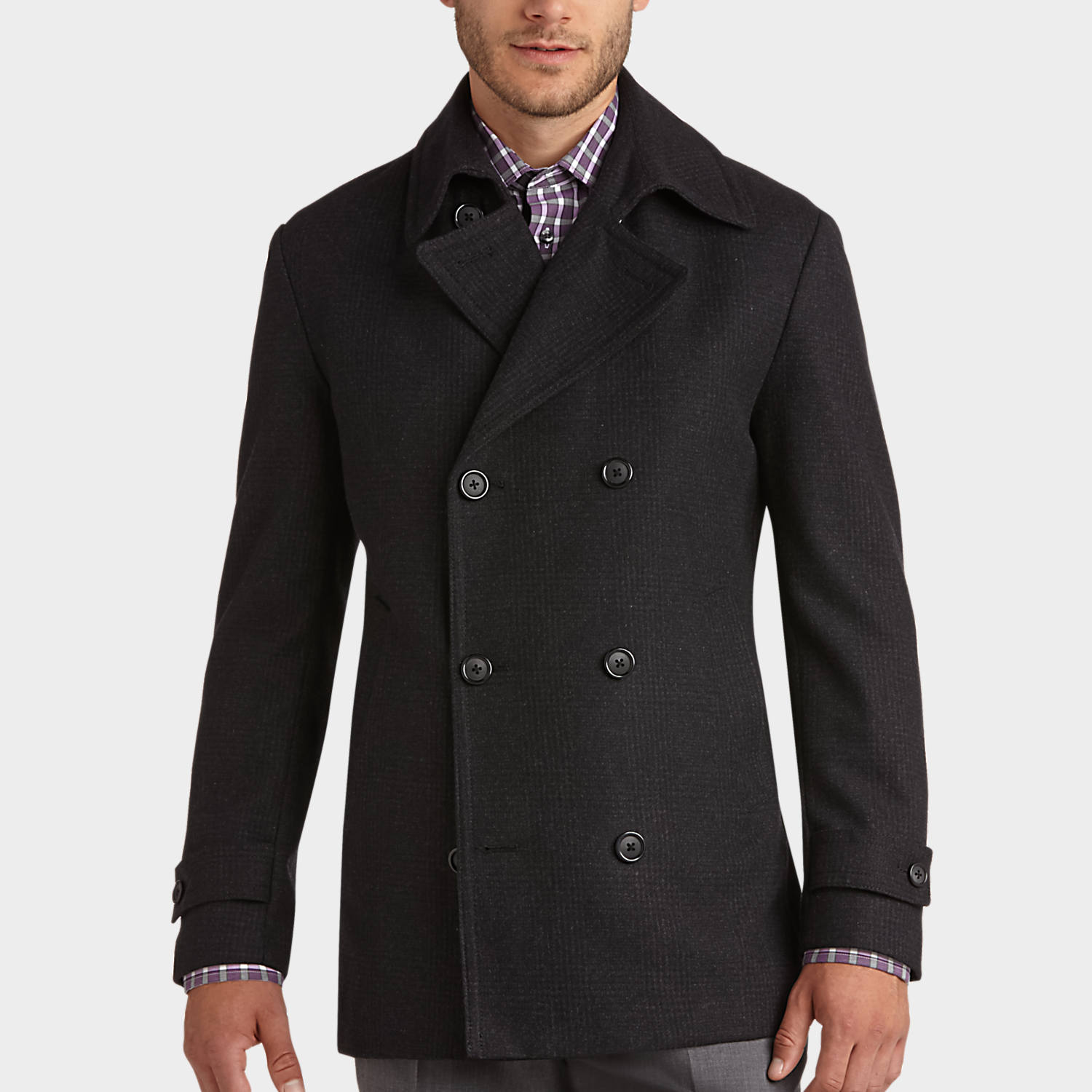 Pronto Uomo Charcoal Plaid Modern Fit Peacoat - Peacoats | Men's Wearhouse