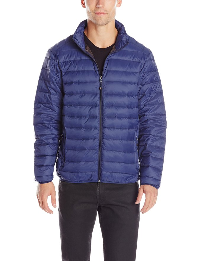 Hawke & Co Men's Packable Down Puffer Jacket with Shoulder Stitching, Medieval Blue, Large at Amazon Men's Clothing store: