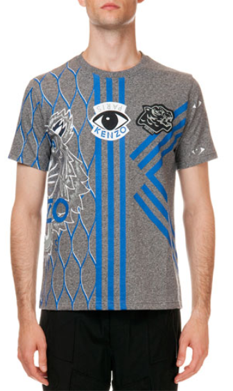 Kenzo  Embroidered Multi-Icon Short Sleeve T-Shirt, Gray/Blue