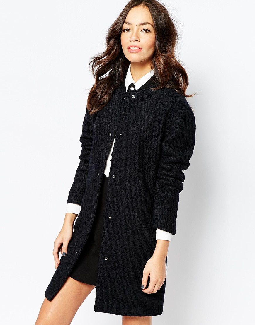 Only   Only Long Line Wool Bomber Coat at ASOS