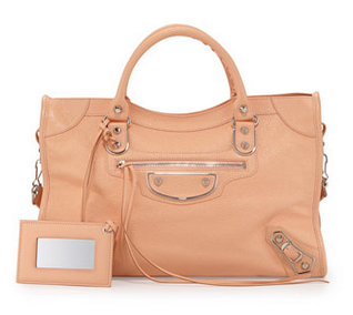 Balenciaga Metallic Edge Classic City Bag, Rose Peche