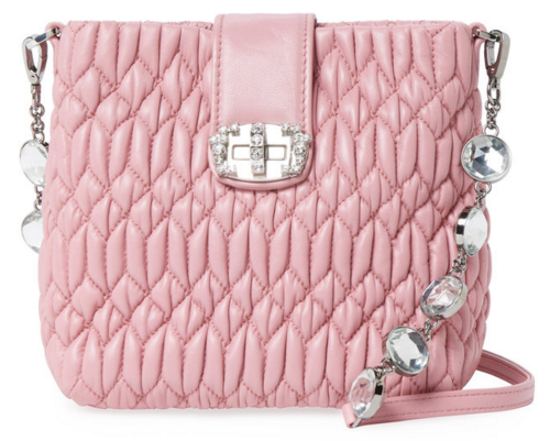 Miu Miu Embellished Small Matelassé Leather Crossbody