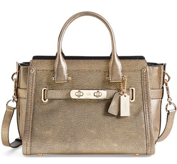 COACH 'Swagger 27' Metallic Leather Satchel