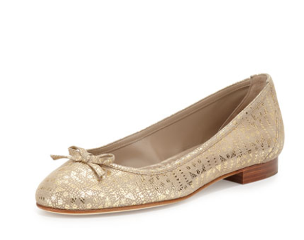 Manolo Blahnik Prep Glossy Patterned Suede Ballet Flat, Brown Pattern