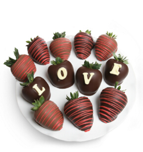 DYLAN'S CANDY BAR VALENTINE'S DAY BELGIAN CHOCOLATE COVERED LOVE STRAWBERRIES