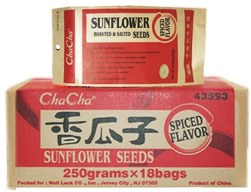 Chacha Sunflower Roasted and Salted Seeds (Chinese Herbal Spiced Flavor) 250g X 18 Bags