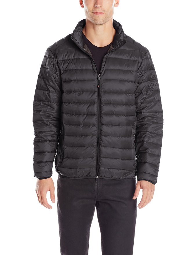 Hawke & Co Men's Packable Down Puffer Jacket with Shoulder Stitching, Black, Medium at Amazon Men's Clothing store: