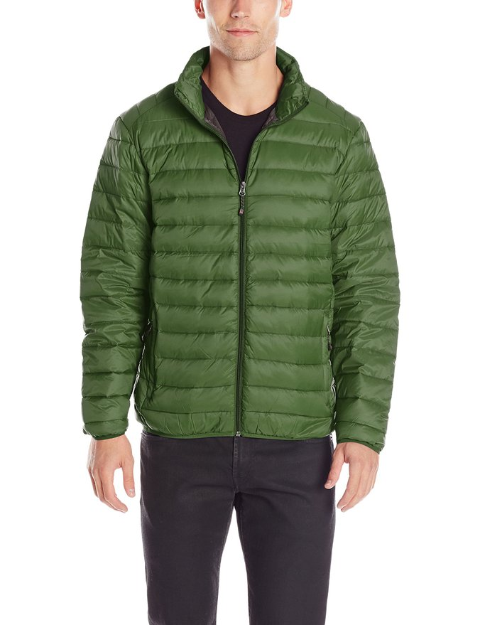 Hawke & Co Men's Packable Down Puffer Jacket with Shoulder Stitching, Kombu, Medium at Amazon Men's Clothing store: