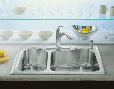 KOHLER Staccato Top Mount Stainless Steel 33 in. 4-Hole Double Bowl Kitchen Sink