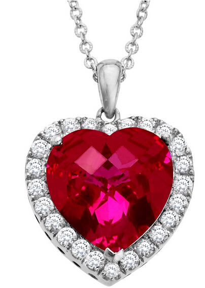 13 ct Ruby & White Sapphire Heart Pendant