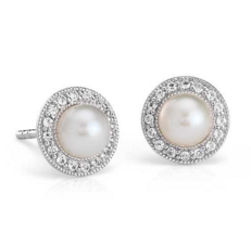 Vintage-Inspired Freshwater Cultured Pearl and White Topaz Halo Earrings in Sterling Silver (5mm) | Blue Nile