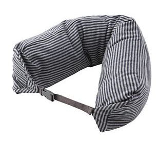 MOMA Muji Well-Fitted (Microbead) Neck Cushion (Gray with Navy Stripe)