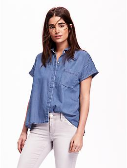Chambray Button-Front Trapeze Top   Old Navy