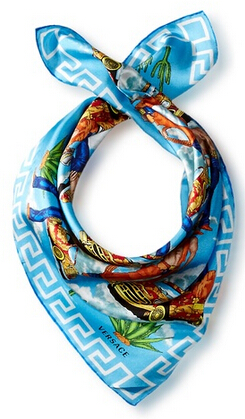 Versace Patterned Silk Scarf, Blue/White/Brown