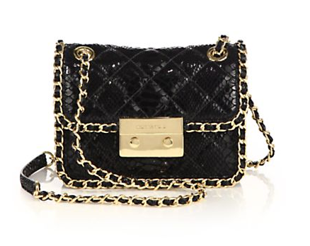 MICHAEL MICHAEL KORS - Carine Medium Quilted Snake-Embossed Patent Leather Shoulder Bag