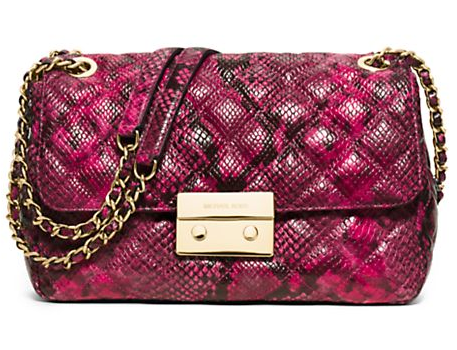 MICHAEL MICHAEL KORS - Sloan Large Quilted Snake-Embossed Leather Crossbody Bag