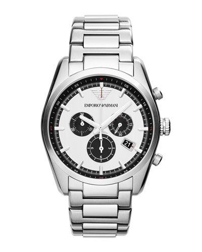Emporio Armani Sportivo Large Round Stainless Steel Chronograph Watch, Silver