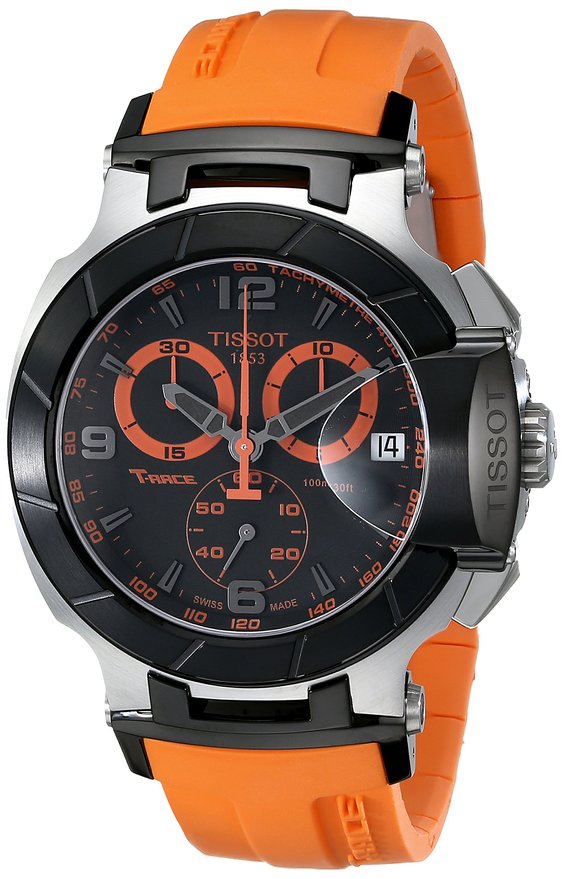 Lowest price! Tissot Men's T0484172705704 T-Race Two-Tone Stainless Steel Watch with Orange Rubber Band: Tissot: Clothing
