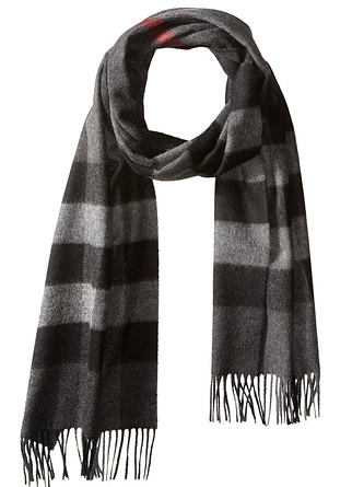 Burberry Men's Cashmere Scarf, Charcoal Check