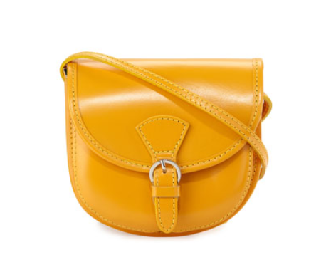 Neiman Marcus Made in Italy Buckle Leather Saddle Bag, Yellow