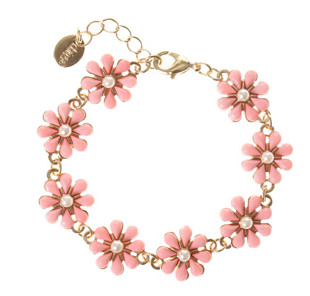 Pink and Gold Flower Bracelet