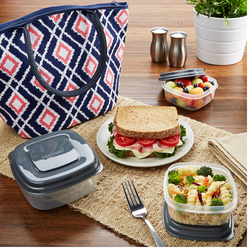 Santa Ana Insulated Lunch Bag Kit with Reusable Container Set and Ice Pack