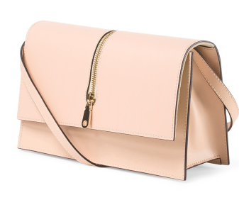 Made In Italy Leather Clutch With Zipper