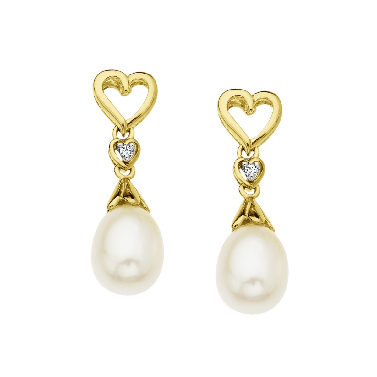Pearl Heart Drop Earrings with Diamonds in 10K Gold