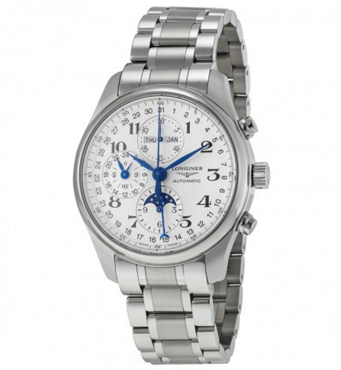 Longines Master Collection Silver Chronograph Dial Stainless Steel Men's Watch L27734786 - Master Collection - Longines - Shop Watches by Brand - Jomashop