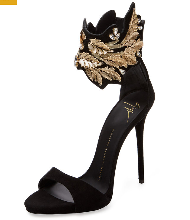 Embroidered Ankle-Wrap Sandal by Giuseppe Zanotti at Gilt