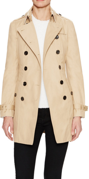 Burberry Brit Hooded Trench Coat with Warmer