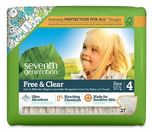 Seventh Generation Free and Clear Sensitive Skin Baby Diapers with Animal Prints, Size 4, 135 Count