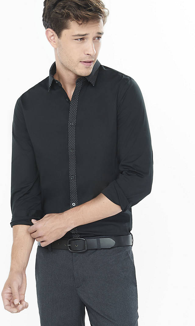Fitted Micro Dot Trim Going Out Shirt