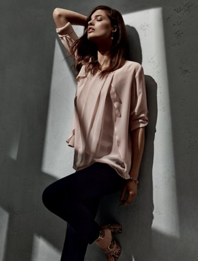 EMBROIDERED ROLL-UP STRETCH CREPE SHIRT