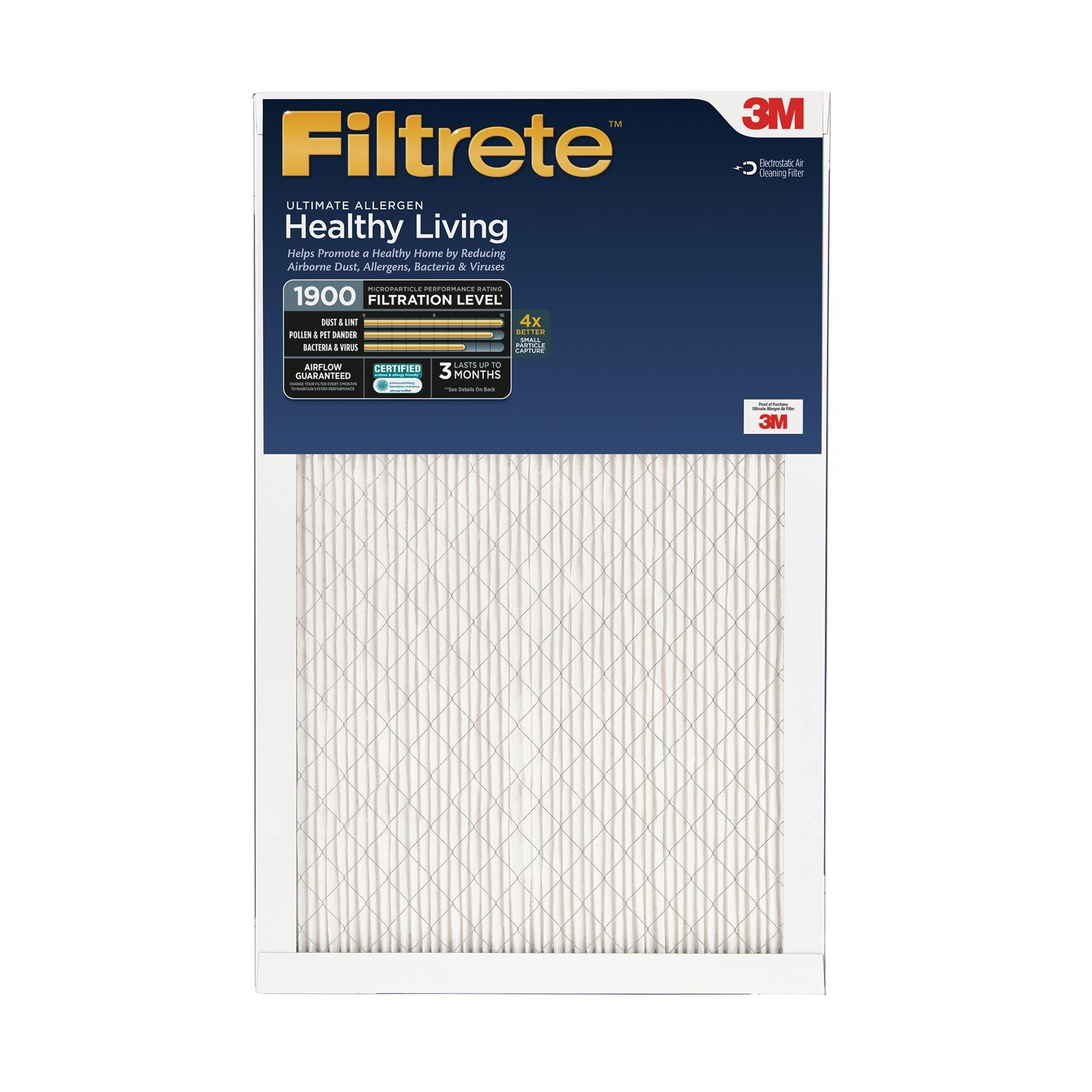 Filtrete Healthy Living Ultimate Allergen Reduction Filter, MPR 1900, 18 x 18 x 1-Inches, 6-Pack