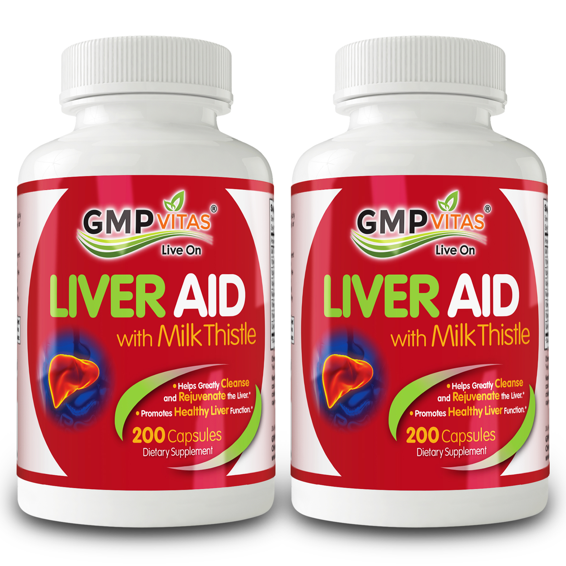 GMP Vitas® Liver Aid With Milk Thistle 200 Capsules Bundle (2 Bottles)