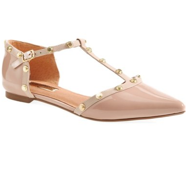 Halogen® 'Olson' Pointy Toe Studded T-Strap Flat (Women) (Nordstrom Exclusive) | Nordstrom