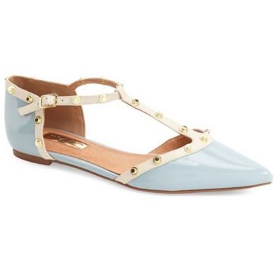Halogen® 'Olson' Pointy Toe Studded T-Strap Flat (Women) (Nordstrom Exclusive)