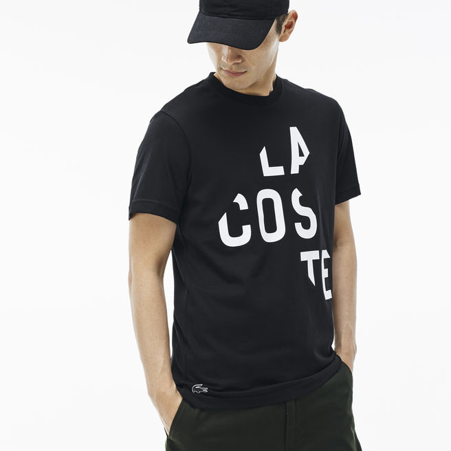 Men's Jersey Crew Neck T-Shirt with LACOSTE Lettering | LACOSTE
