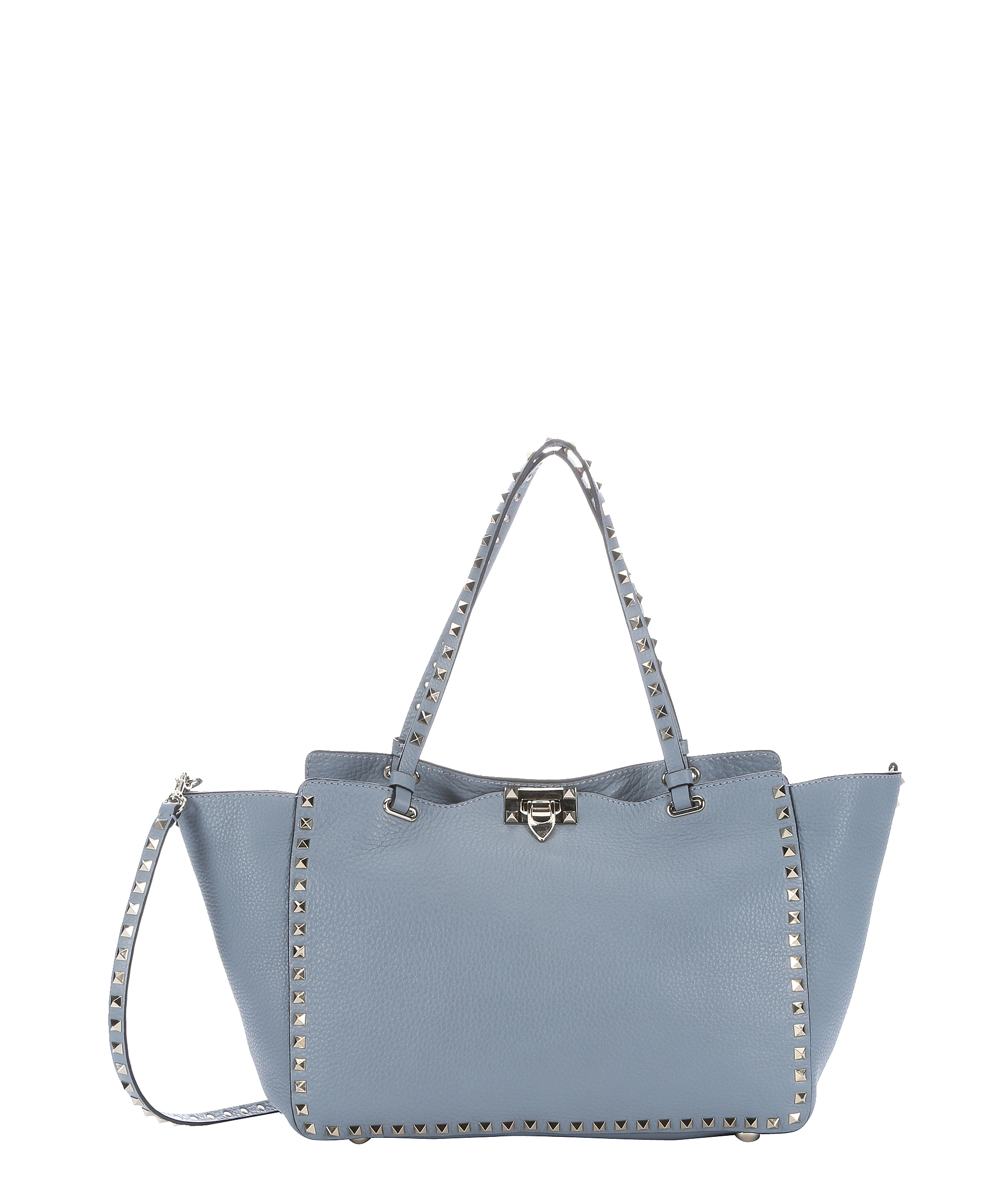 Valentino Light Blue Leather 'rockstud' Convertible Tote | Bluefly