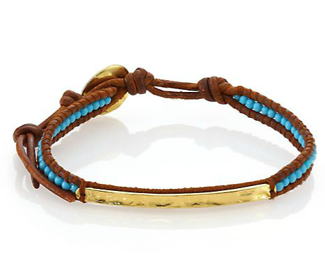 Chan Luu - Turquoise & Leather Beaded Bar Bracelet - Saks.com