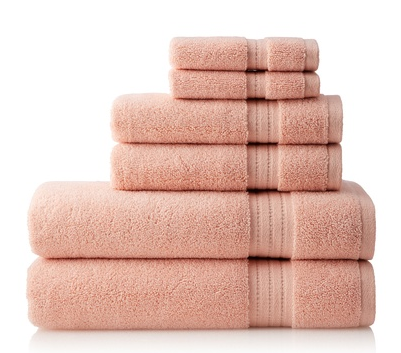 Pure Fiber Zero Twist 6-Piece Towel Set, Rose at MyHabit