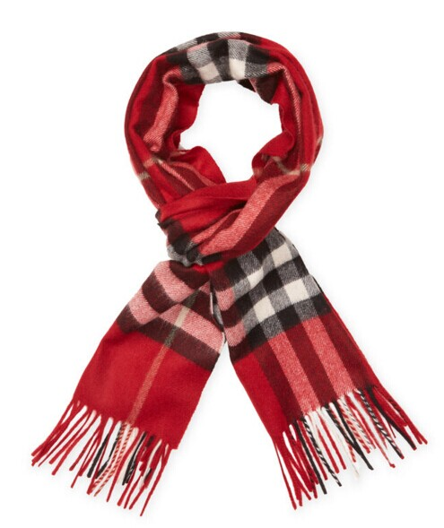 Cashmere Check Long Scarf, 66