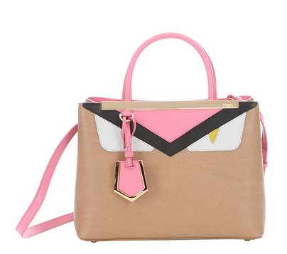 Fendi Khaki And Rose Leather Petite '2jour Monster' Convertible Tote (384930901)   Bluefly