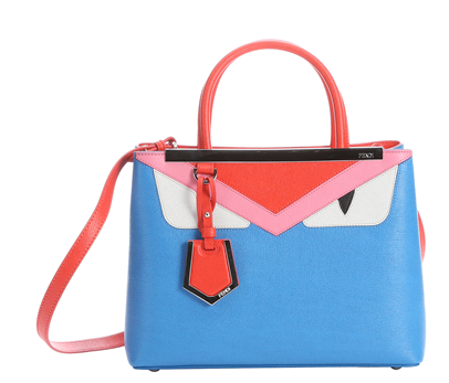 Fendi Sky Blue And Poppy Leather Petite '2jour Monster' Convertible Tote (384930801)   Bluefly