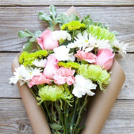 Just Make it Awesome Mother's Day Arrangement | A Green, PInk and White Mixed Flower Bouquet