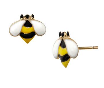 Bumble Bee Button Stud Earrings in 14K Gold