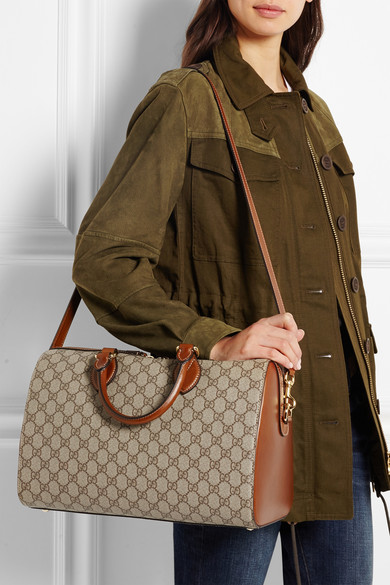 Gucci   Linea A Boston leather-trimmed coated canvas tote   NET-A-PORTER.COM