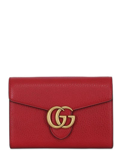 GG BUCKLE GRAINED LEATHER SHOULDER BAG - LUISAVIAROMA - LUXURY SHOPPING WORLDWIDE SHIPPING - FLORENCE