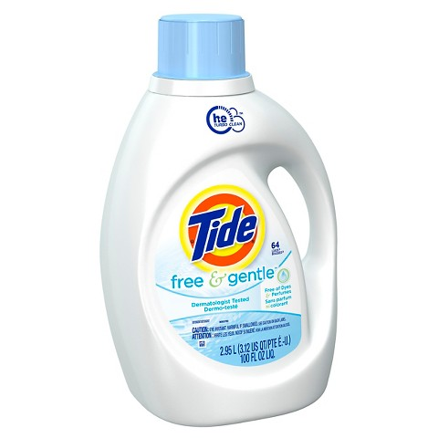 2 x Tide Free and Gentle High Efficiency Liquid Laundry Detergent - 100 oz